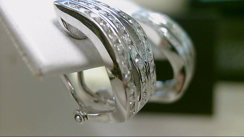 Gold-Diamond Earrings 33 Diamonds .33 Carat T.W. 14K White Gold 7.9g