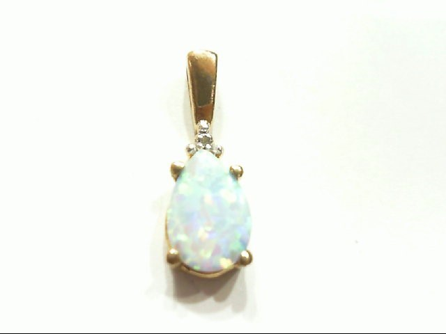 Opal Gold-Stone Pendant 10K Yellow Gold 0.8g