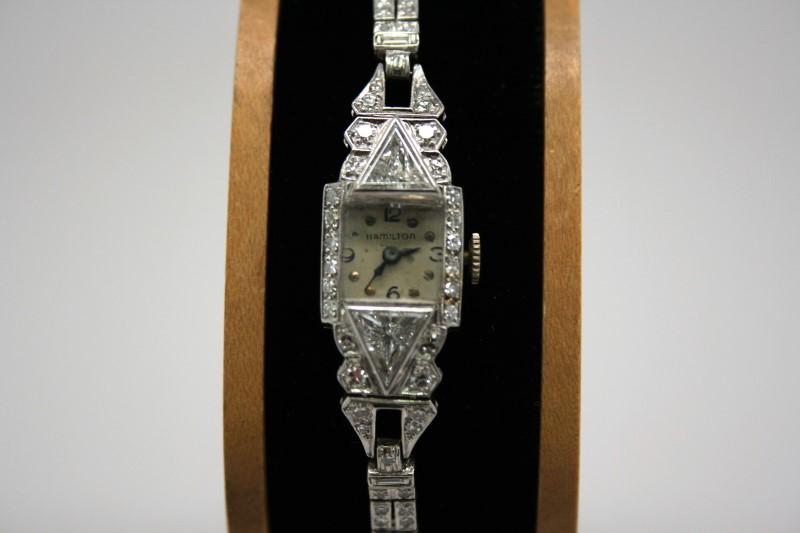 ANTIQUE LADY'S HAMILTON WATCH IN PLATINUM W/ DIAMONDS