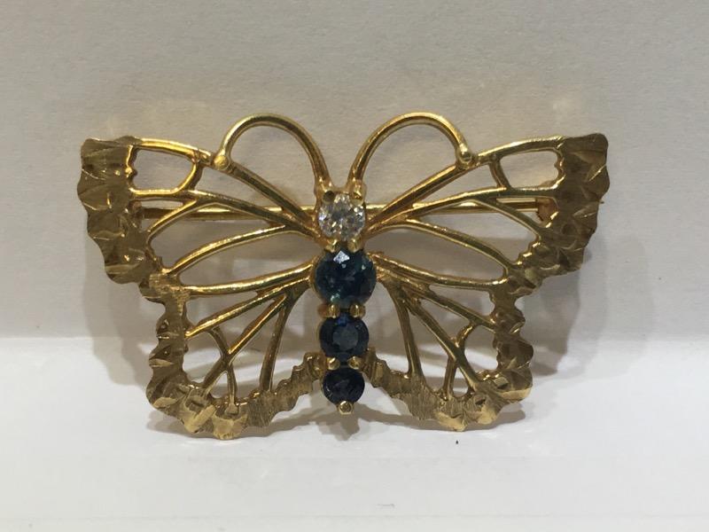 14K Yellow Gold Open Work Sapphire & Diamond Butterfly Brooch Pin