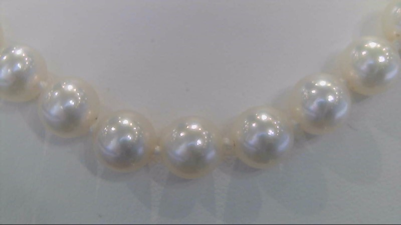 """MIKIMOTO 30"""" 8MM WHITE Pearl Necklace 18K Yellow Gold 2.5g"""