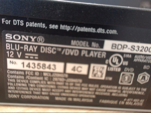 SONY Blu-Ray Player BLUERAY PLAYER BDP-S3200