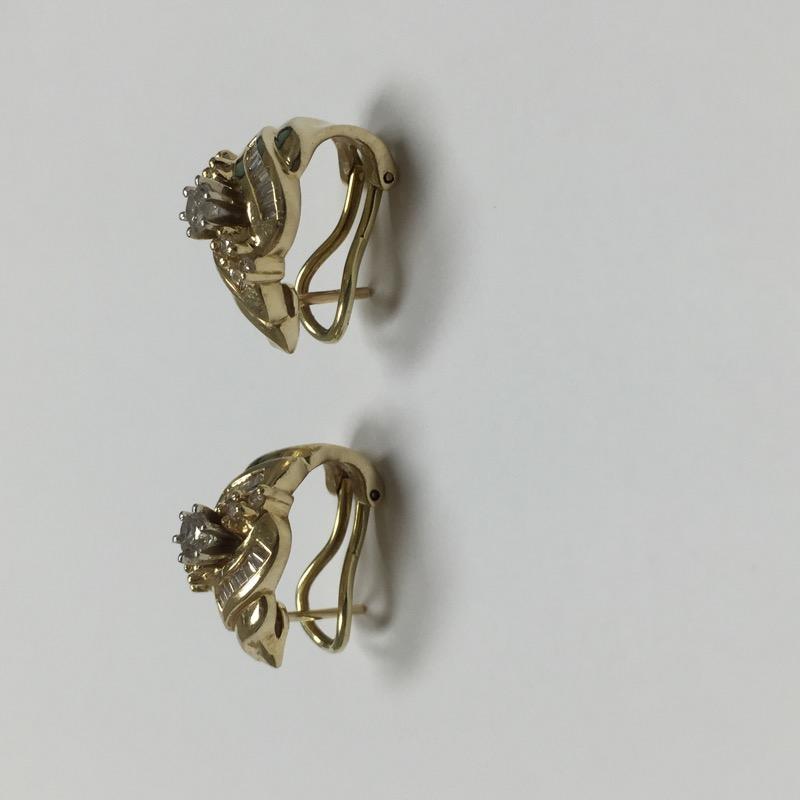 Gold-Diamond Earrings 43 Diamonds .86 Carat T.W. 14K Yellow Gold 5.3dwt