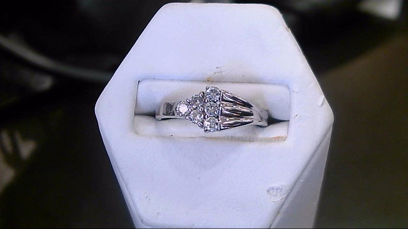 Lady's Diamond Fashion Ring 6 Diamonds .18 Carat T.W. 14K White Gold 3.3g