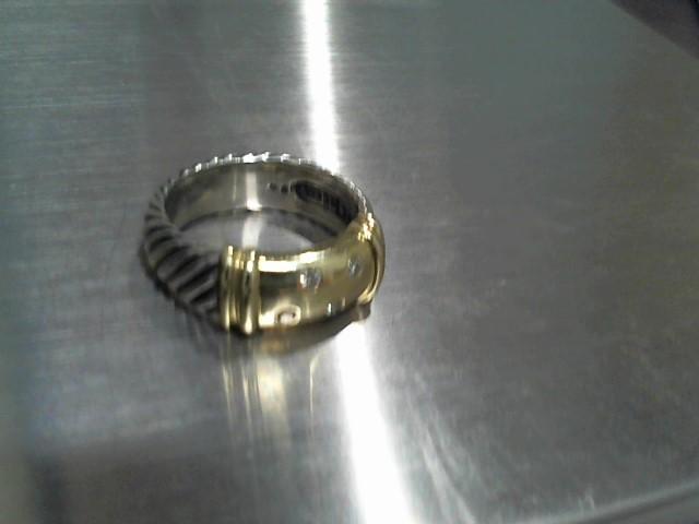 Lady's Silver-Diamond Ring 4 Diamonds .08 Carat T.W. 925 Silver 7.6g
