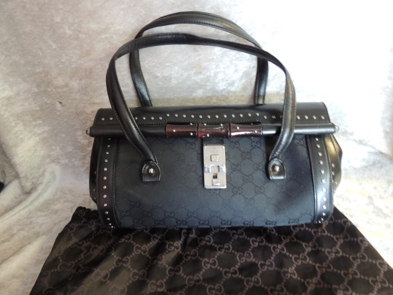 GUCCI TOM FORD BAMBOO BULLET BAG CANVAS SIGNATURE BLACK LEATHER STUD RARE