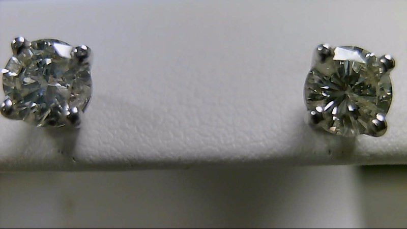 Gold-Diamond Earrings 2 Diamonds .98 Carat T.W. 14K White Gold 1.1g
