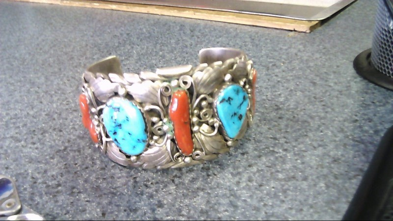 Synthetic Turquoise Silver-Stone Bracelet 925 Silver 111.7g