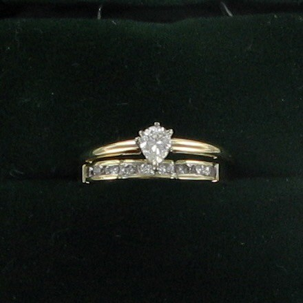 Lady's Diamond Wedding Set 10 Diamonds .52 Carat T.W. 14K Yellow Gold 2dwt