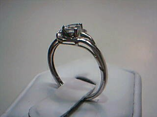 Synthetic Aquamarine Lady's Silver-Diamond & Stone Ring .01 CT. 925 Silver 1.5g