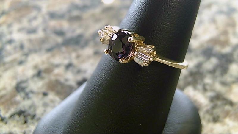 Genuine Purple Sapphire and Baggette Diamond Yellow 14K Gold Ring