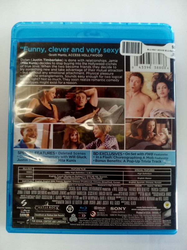 FRIENDS WITH BENEFITS, BLU-RAY MOVIE STARRING JUSTIN TIMBERLAKE