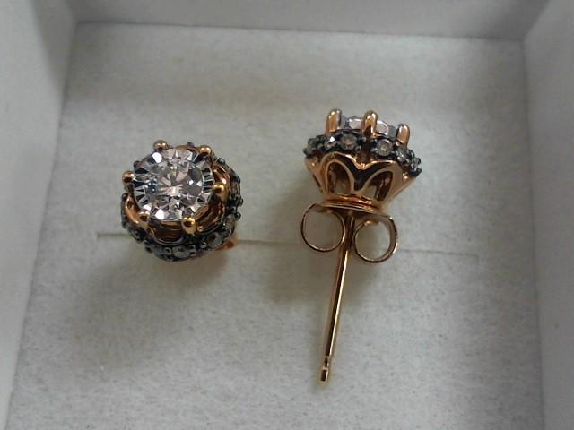 Gold-Diamond Earrings 26 Diamonds .44 Carat T.W. 14K Yellow Gold 2g