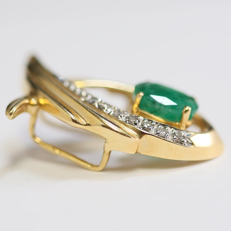Unique 14K Yellow Gold Emerald and Diamond Pendant