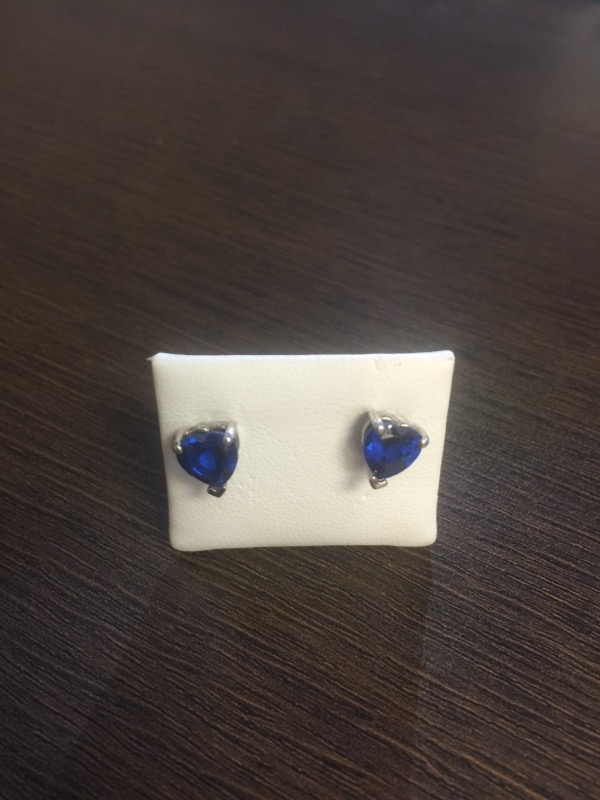 Blue Stone Gold-Stone Earrings 14K White Gold 1.5g