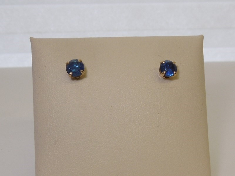 Synthetic Sapphire Gold-Stone Earrings 10K Yellow Gold 1.5g