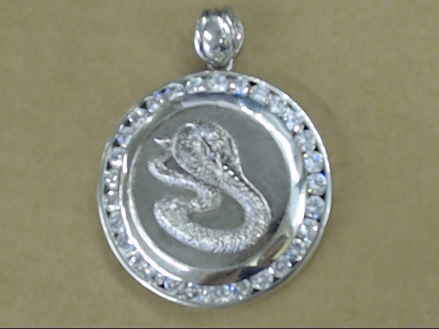 HUGE SNAKE COBRA CZ PENDANT SOLID STERLING SILVER HEAVY 56g ICE PUNK