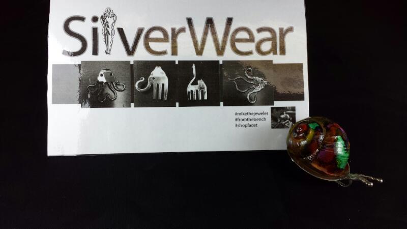 Designer Michael Kelch Colorful Snail Pendant 925 Silver