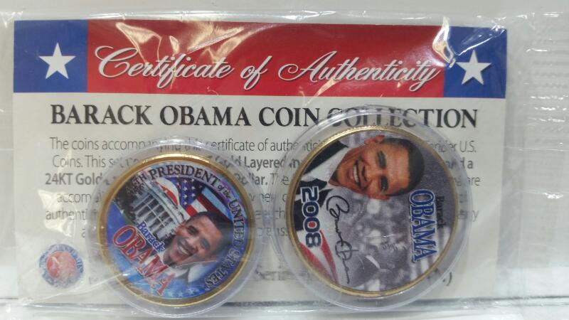 2008 Barack Obama 24K Gold Layered Presidential Dollar Coin & Hawaii Quarter