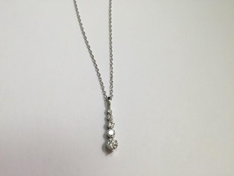Gold-Multi-Diamond Pendant 5 Diamonds .46 Carat T.W. 14K white gold w chain