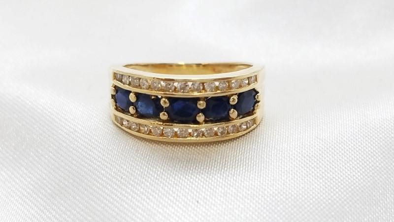 Ladies Sapphire & Diamond Ring 26 Diamonds .52 TCW 14K YG Size - 6