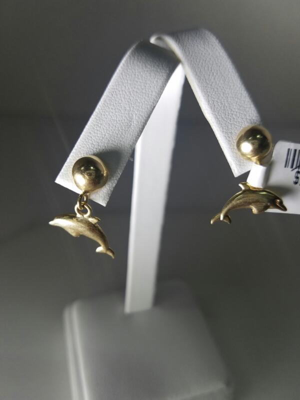 DOLPHINS EARRINGS L'S 14KT   1.7/YG