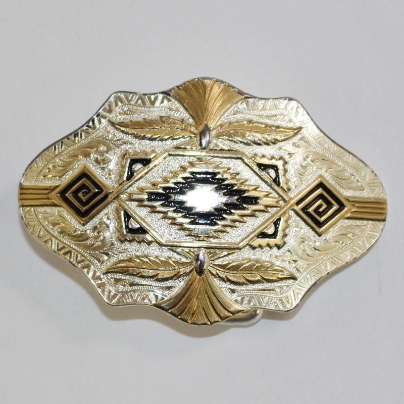"MT SILVERSMITH'S DECORATIVE BELT BUCKLE, 2"" x 3"", TWO-TONE SILVER AND COPPER"