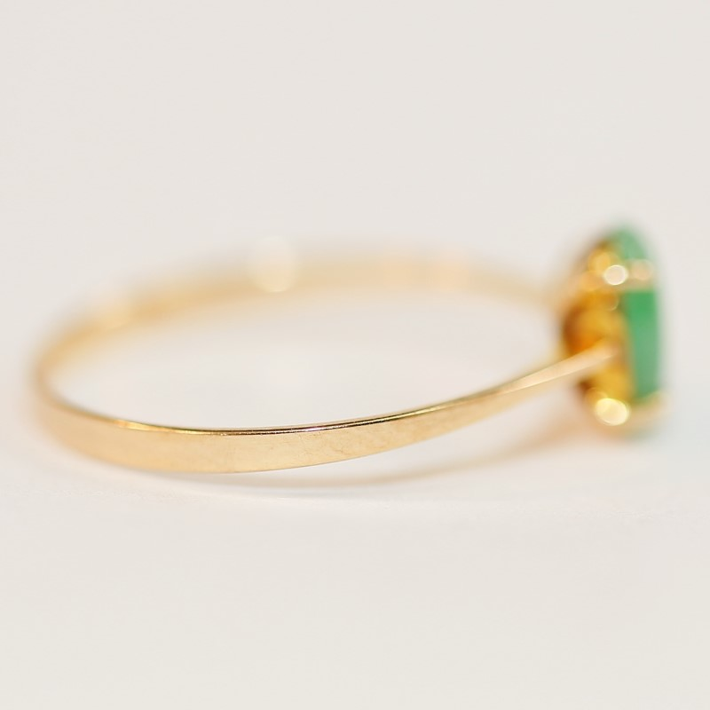 14K Cabochon Cut Jade Ring Size 7