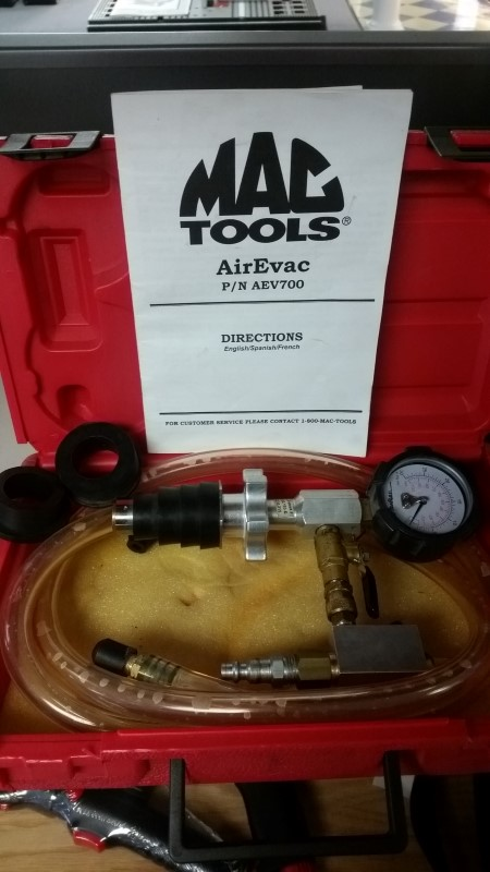 Mac Tools AEV700 Cooling System Air Evac Purge Test Kit