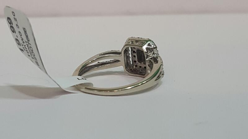 Lady's Diamond Cluster Ring 50 Diamonds .56 Carat T.W. 10K White Gold 3.2g
