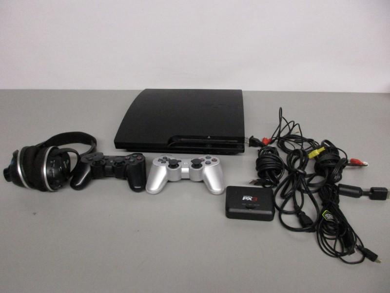 SONY PLAYSTATION 3 SLIM 160GB - CECH-3001A, W/CONTROLLERS, HEADSET