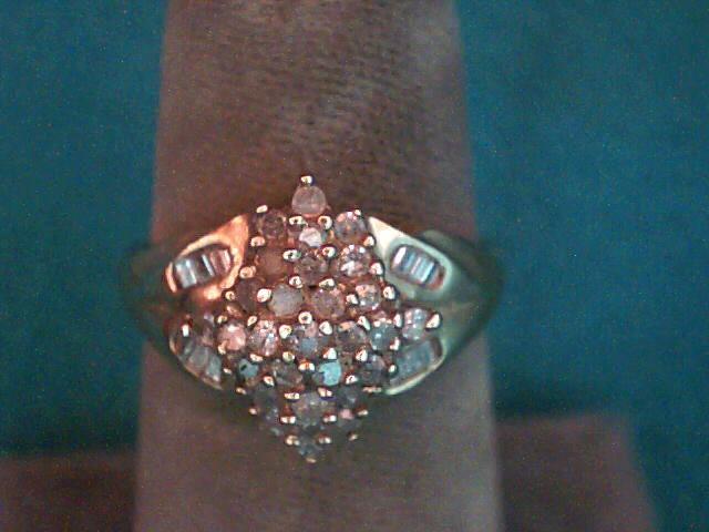 Lady's Diamond Cluster Ring 28 Diamonds .29 Carat T.W. 10K Yellow Gold 2.4dwt