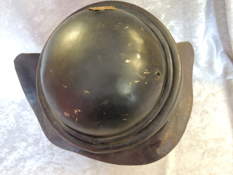 WWII Spanish Tank Operator Leather Helmet w/ Badge