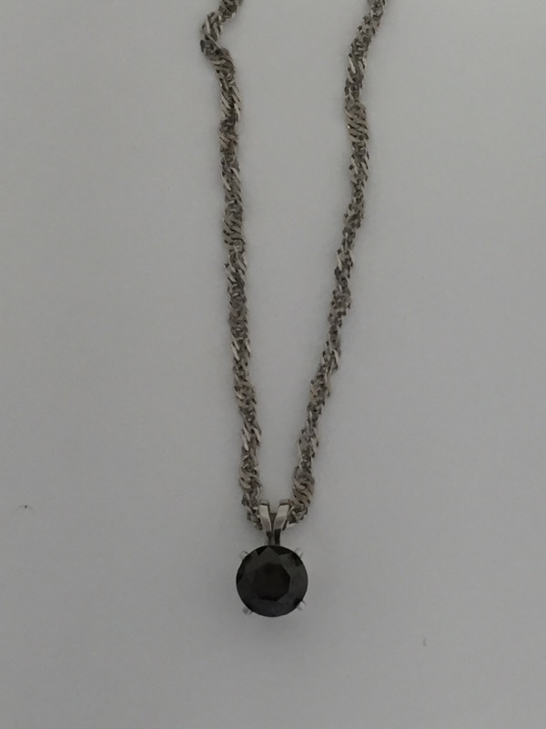 "18"" Onyx Necklace 14K White Gold"