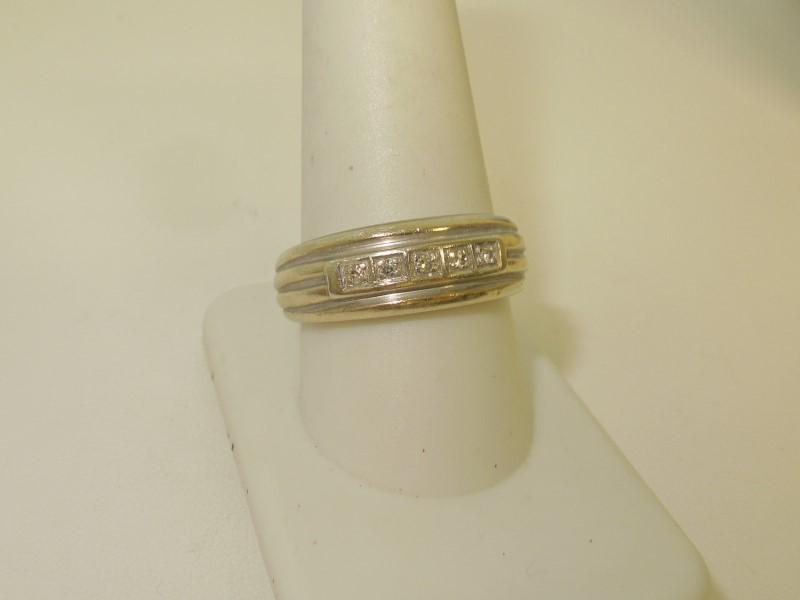 Lady's Diamond Fashion Ring 5 Diamonds .10 Carat T.W. 14K White Gold 7.2g