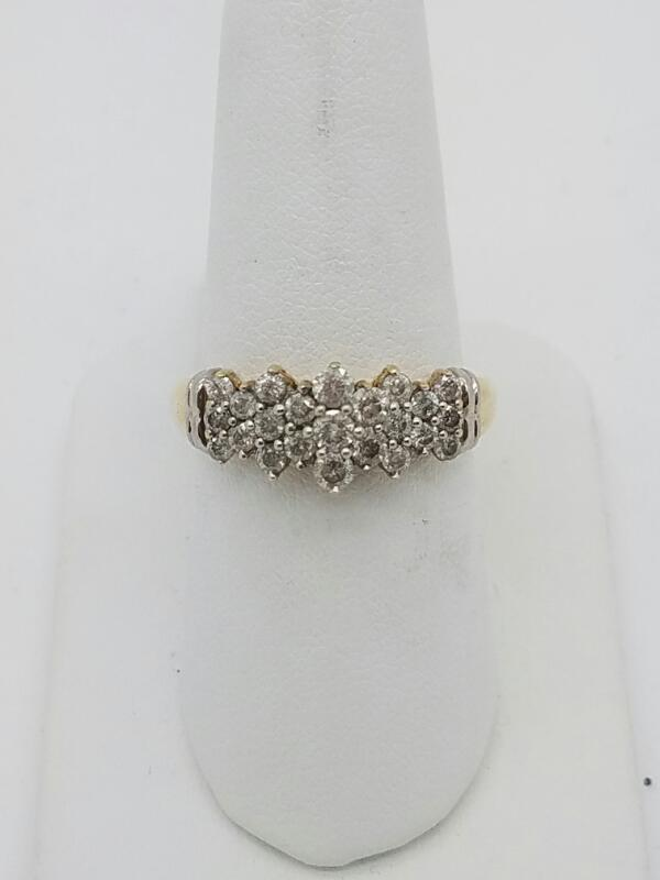 Lady's Diamond Cluster Ring 25 Diamonds 1.25 Carat T.W. 10K Yellow Gold 2.8dwt
