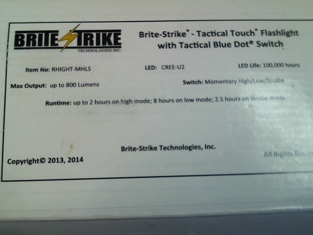 BRITE STRIKE- TACTICAL TOUCH FLASHLIGHT WITH TACTICAL BLUE DOT SWITCH