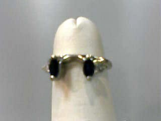 Sapphire Lady's Stone & Diamond Ring 2 Diamonds .06 Carat T.W. 14K White Gold