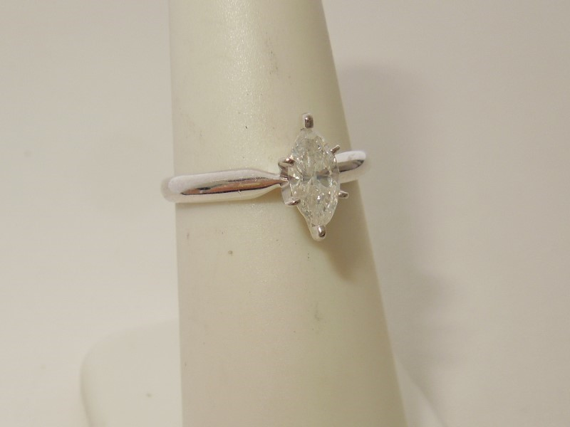 Lady's Diamond Solitaire Ring .45 CT. 14K White Gold 2.1g Size:6