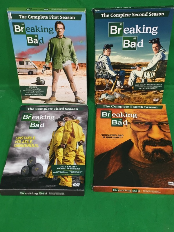 BREAKING BAD: Season 1 2 3 & 4 Complete DVD Sets~ Bryan Cranston ~
