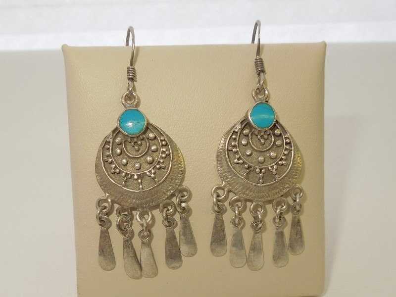 Synthetic Turquoise Silver-Stone Earrings 925 Silver 6.1g