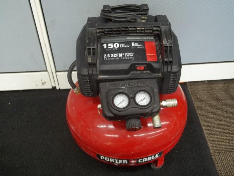 PORTER CABLE COMPRESSOR C2002 TYPE 9, 6 GALLON, 150PSI MAX, 2.6SCFM @ 90PSI
