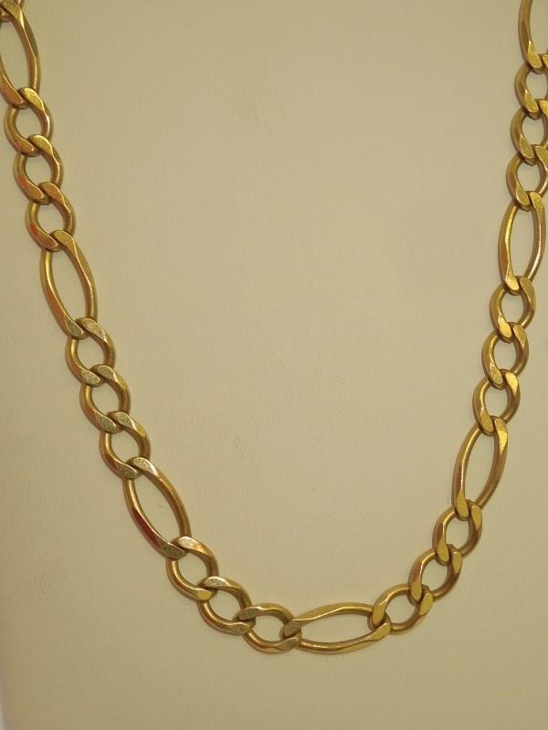 """27"""" Gold Figaro Chain 10K Yellow Gold 34.3g"""