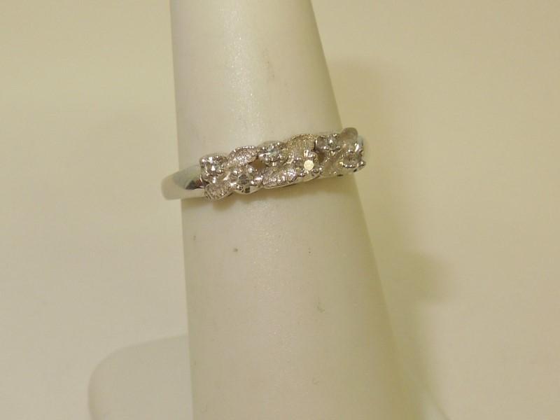 Lady's Diamond Fashion Ring 6 Diamonds .06 Carat T.W. 14K White Gold 2.6g