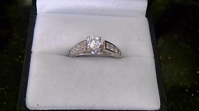 Lady's Diamond Engagement Ring 11 Diamonds .66 Carat T.W. 14K White Gold 2.8g