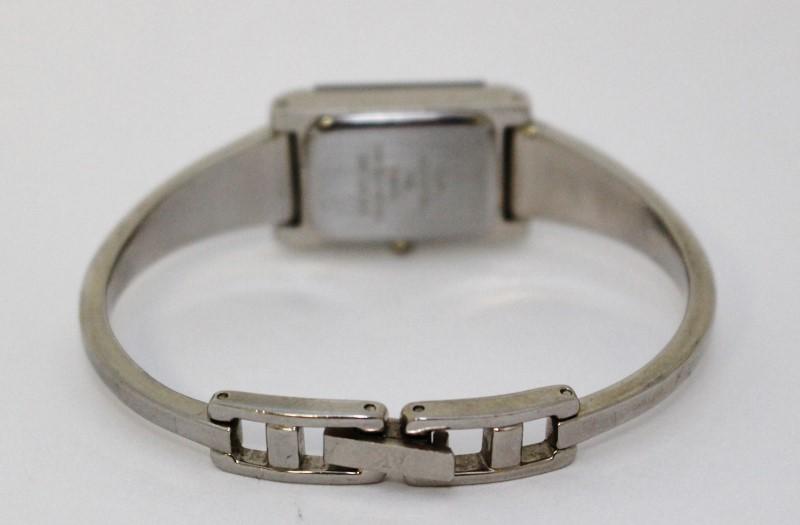 Anne Klein Women's Silver Toned Rectangle Face Diamond Bracelet Watch