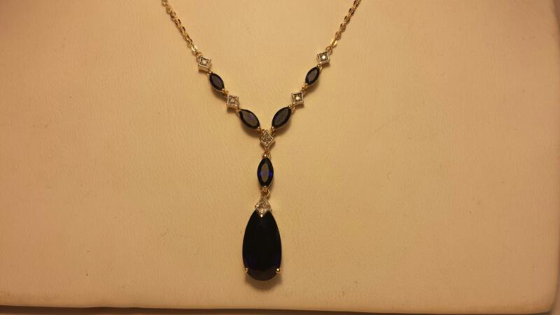 10k Yellow Gold Necklace & Earring Set with 10 Blue & 17 Clear Stones 4.3DWT