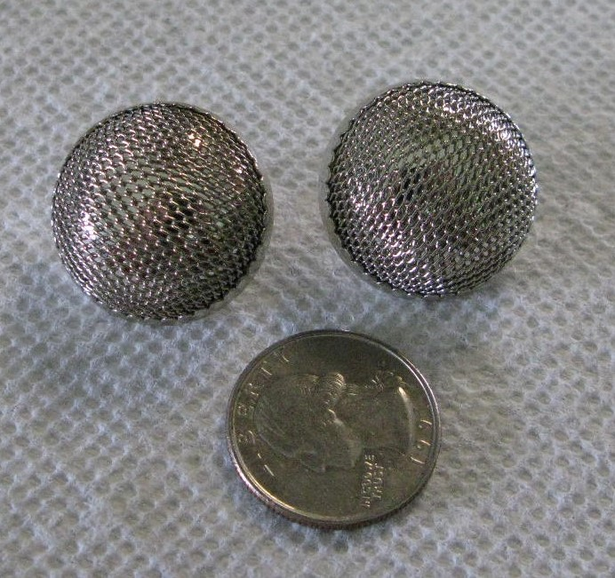"Sterling Round Domed Mesh Post Earrings, 1"" Diameter"