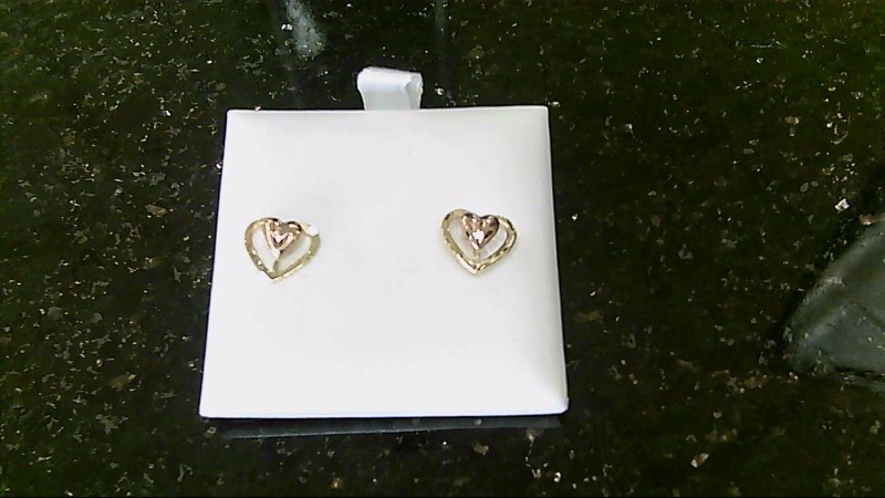 Lady's 10k yellow gold and rose gold heart earrings