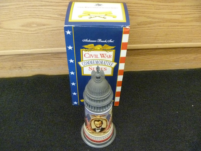 ANHEUSER-BUSCH CIVIL WAR COMMEMORATIVE SERIES ABRAHAM LINCOLN BEER STEIN